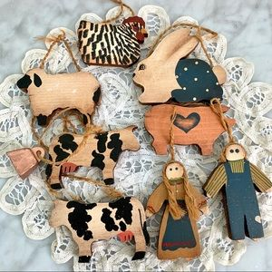 Primitive Wood Country Farm Animals Ornaments